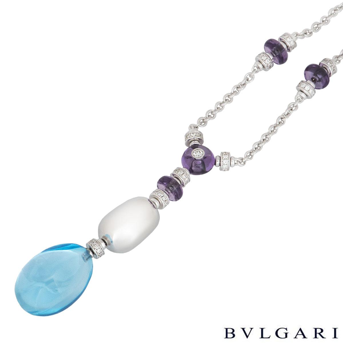 Bvlgari White Gold Diamond & Multi-Gem Mediterranean Eden Necklace CL855840